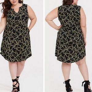 Torrid Chain Print Challis Drawstring Waist Dress